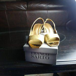 Franco Sarto Gold Open Toe Heel